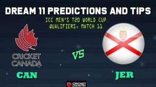 Dream11 Team Canada vs Jersey ICC Men's T20 World Cup Qualifiers – Cricket Prediction Tips For Today's T20 Match 11 Group B CAN vs JER at Dubai